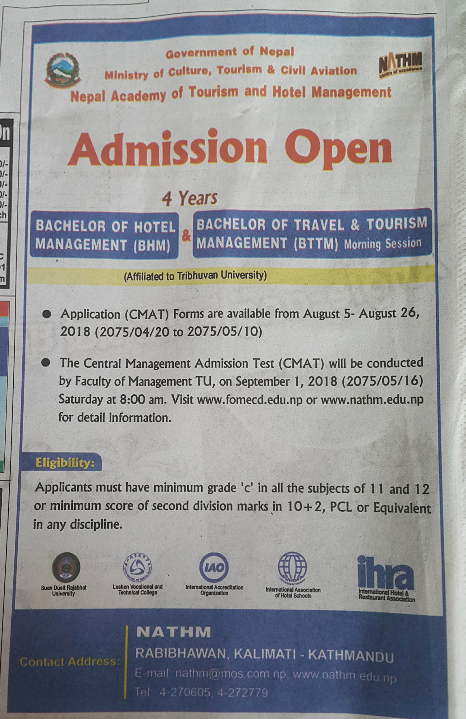 NATHM announces admission for BHM and BTTM courses - Tourism